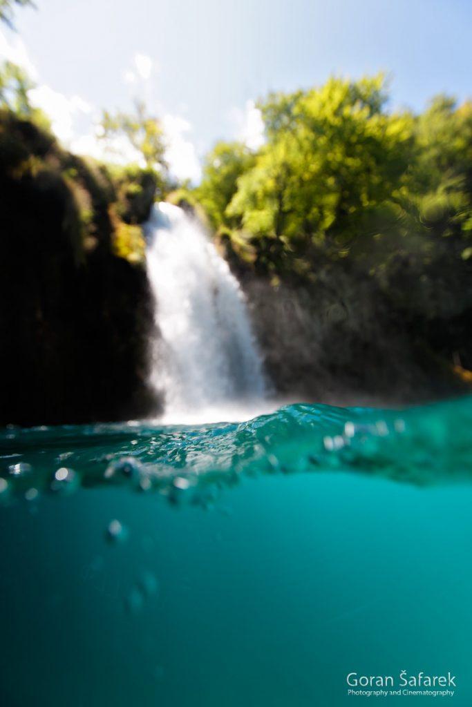 waterfall, underwater, diving, river, croatia, plitvice, national park
