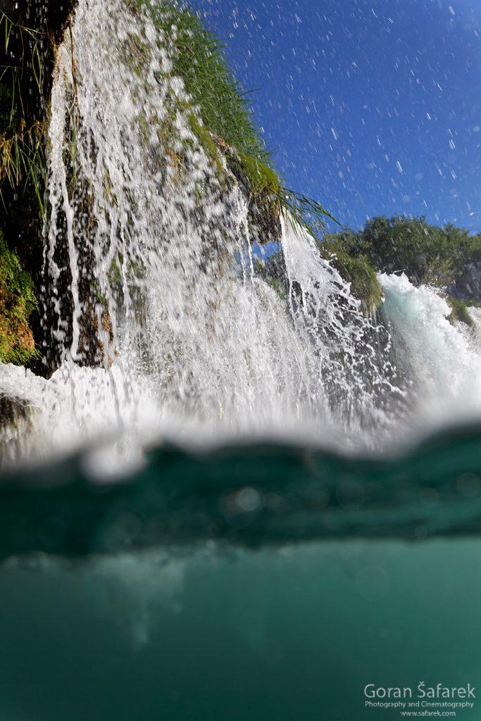waterfall, underwater, diving, river, croatia, krka, national park