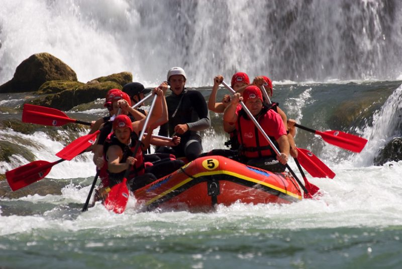 Rafting, the Una River , bosnia, waterfall