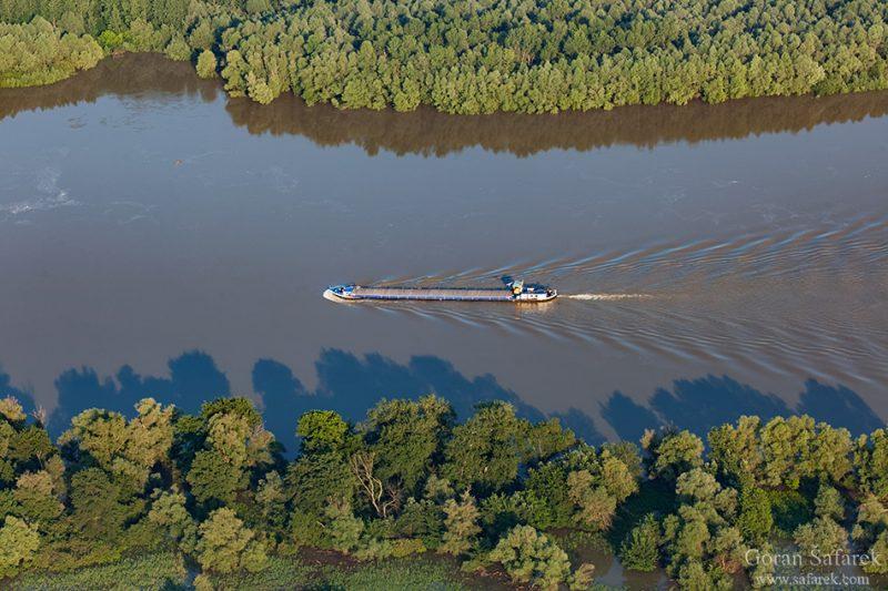 barge, navigation, transportation, danube, floodplain, river, croatia, forest