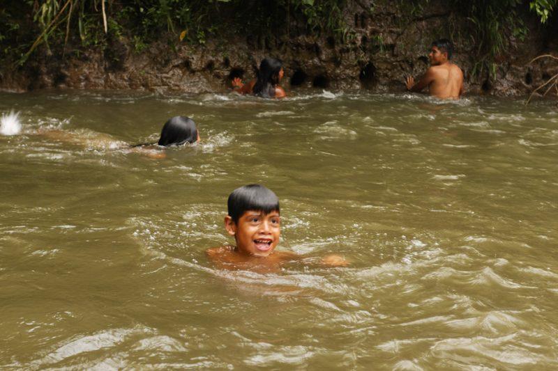 ecuador, macas, shuar, indian, village, amazon, jungle, oriente, kids, swim, bath