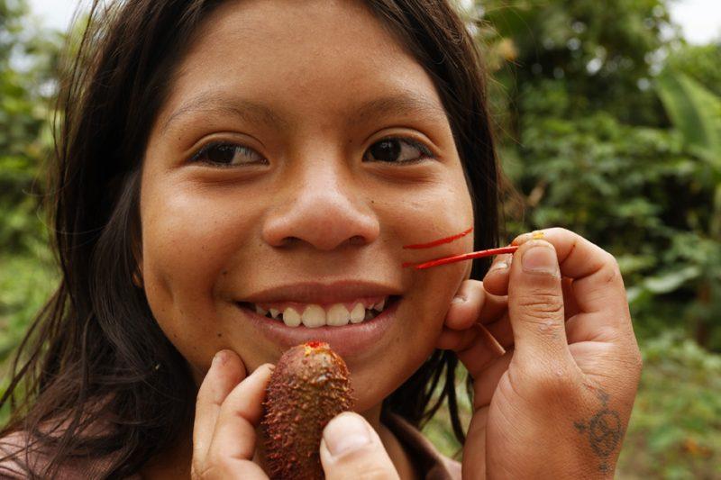 ecuador, macas, shuar, indian, village, amazon, jungle, oriente, make-up, dye, fruit, girl