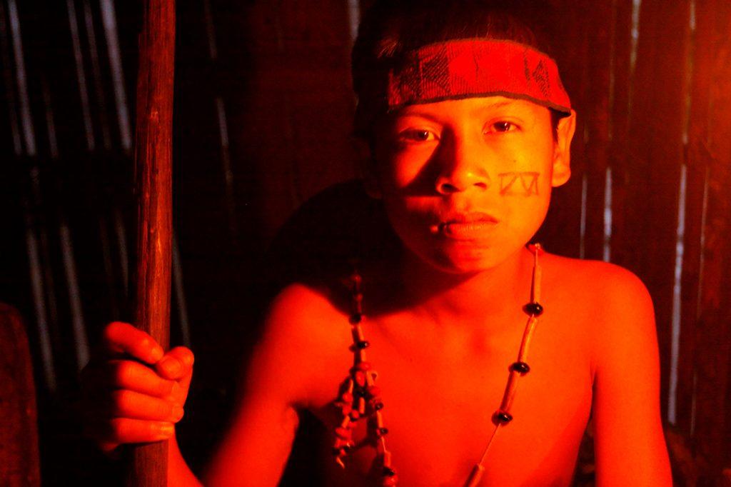 ecuador, macas, shuar, indian, village, amazon, jungle, oriente, boy, shaman