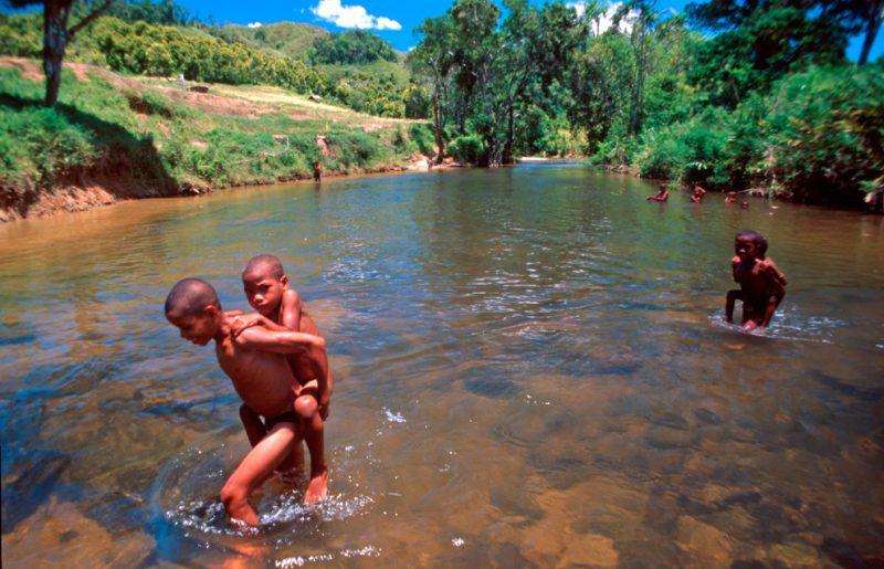 madagascar, stream, farmers, africa, play, naked