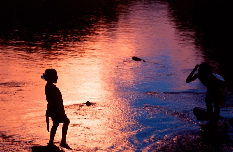 madagascar, stream, farmers, africa, sunset, washing, bath